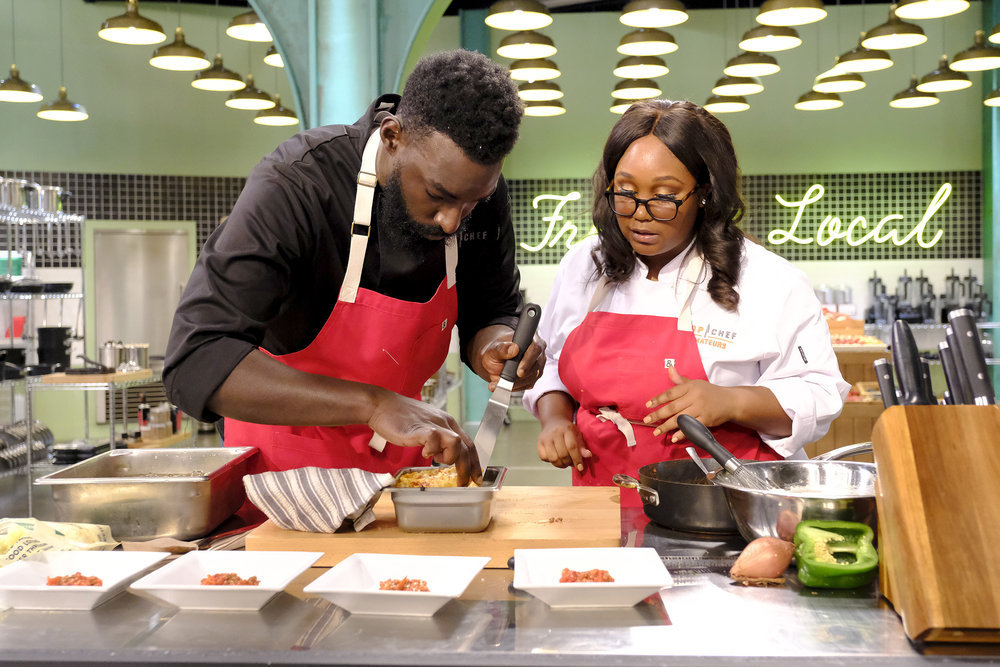 Top Chef Amateurs Kayla Hardin, Eric Adjepong collaborate on a challenge