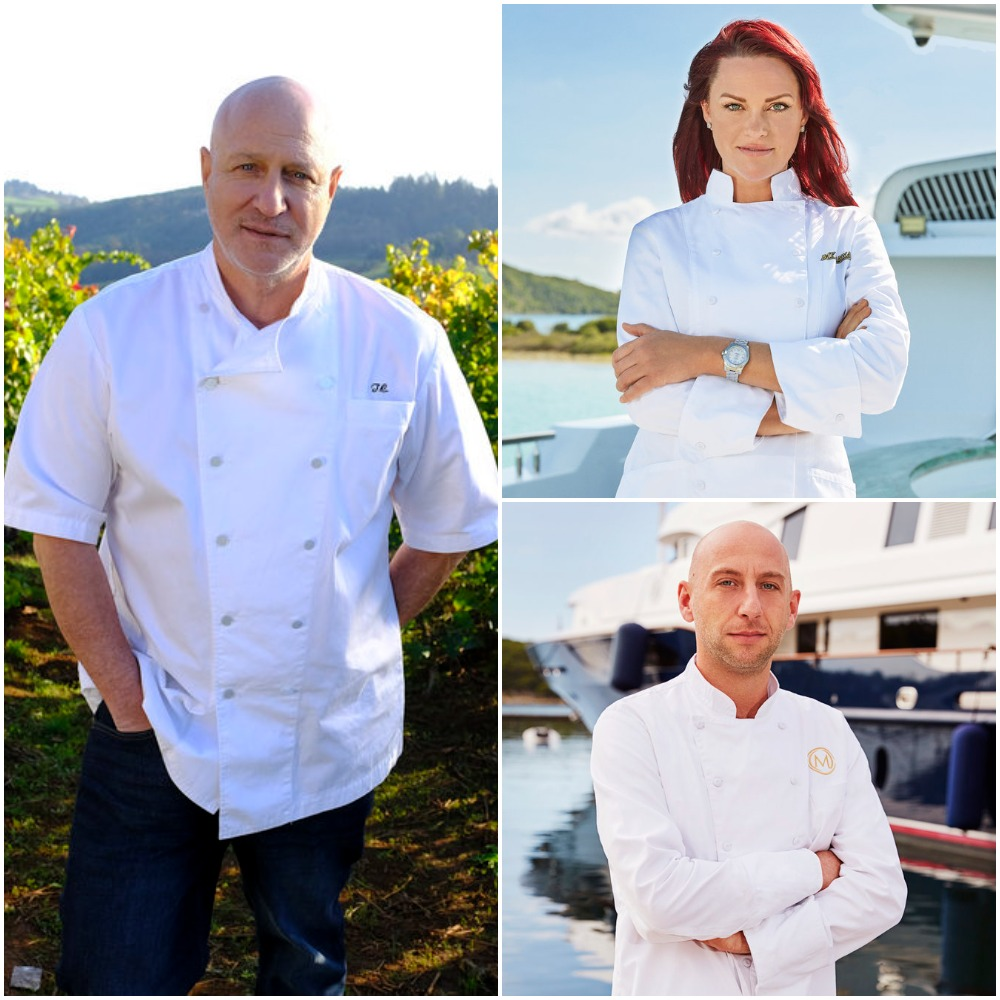 Chef Tom Colicchio from Top Chef and Chef Rachel Hargrove from Below Deck with Chef Mathew Shea from Below Deck Mediterranean