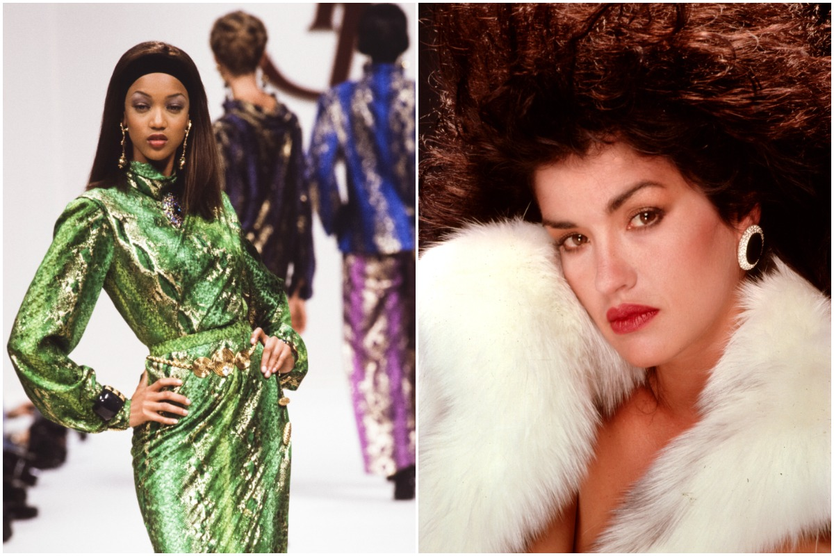 Tyra Banks and Janice Dickinson posing as models in two separate photos.