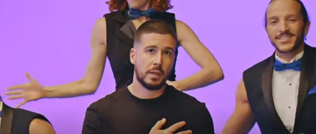 vinny guadagnino in a video still from the promo of a double shot at love.
