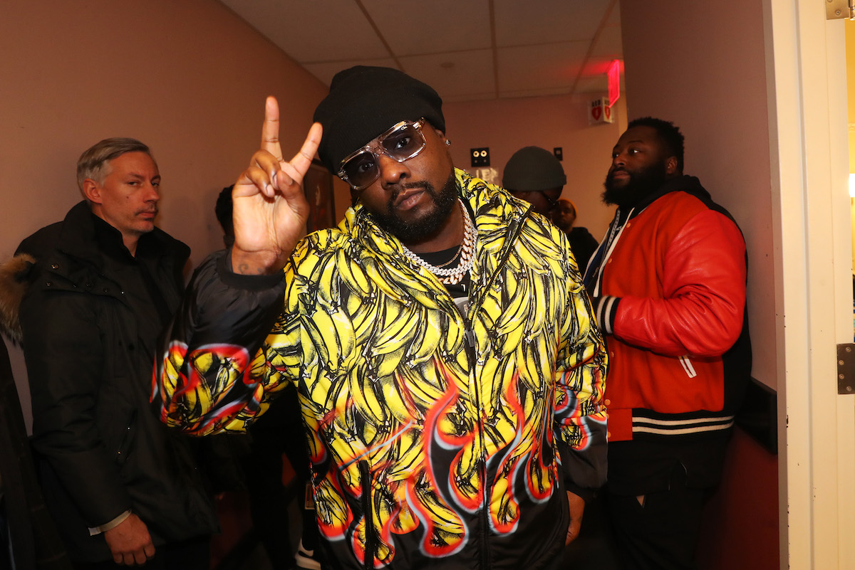 Barry Mullineaux (L) and Wale backstage at Hot 97's Hot For The Holidays 2019 at Kings Theatre on December 18, 2019 in New York City.