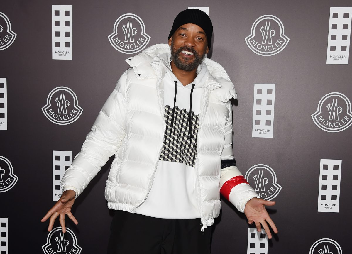 Will Smith in a white jacket at Milan fashion week