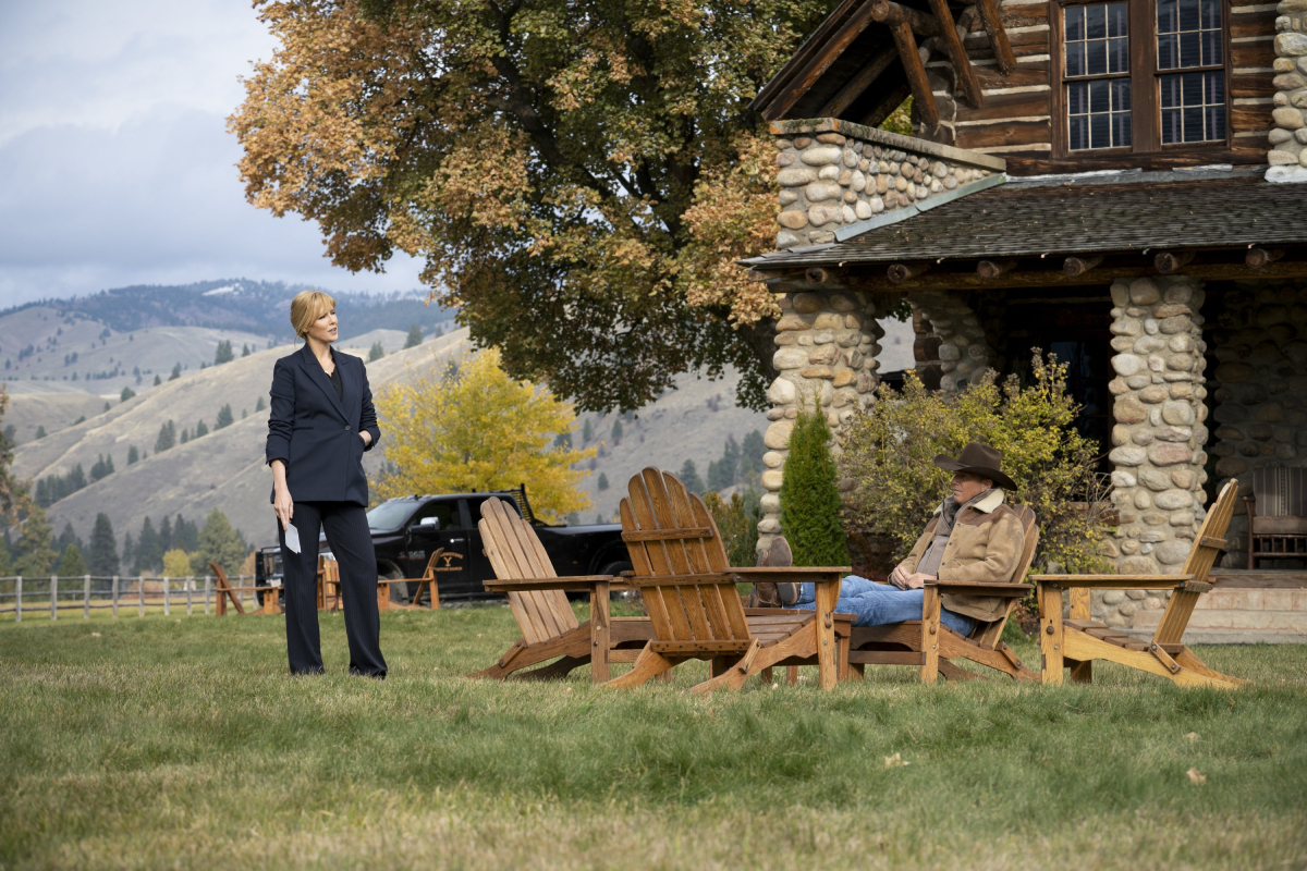 Kelly Reilly (Beth Dutton) and Kevin Costner (John Dutton) on the Dutton ranch in an image from season 3 of 'Yellowstone'