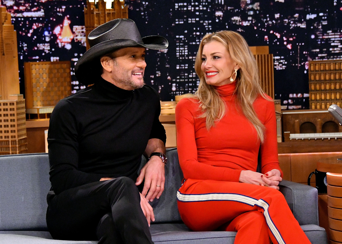 """'Yellowstone' spinoff '1883' stars Tim McGraw and Faith Hill are interviewed on """"The Tonight Show Starring Jimmy Fallon"""" at Rockefeller Center on November 16, 2017, in New York City"""