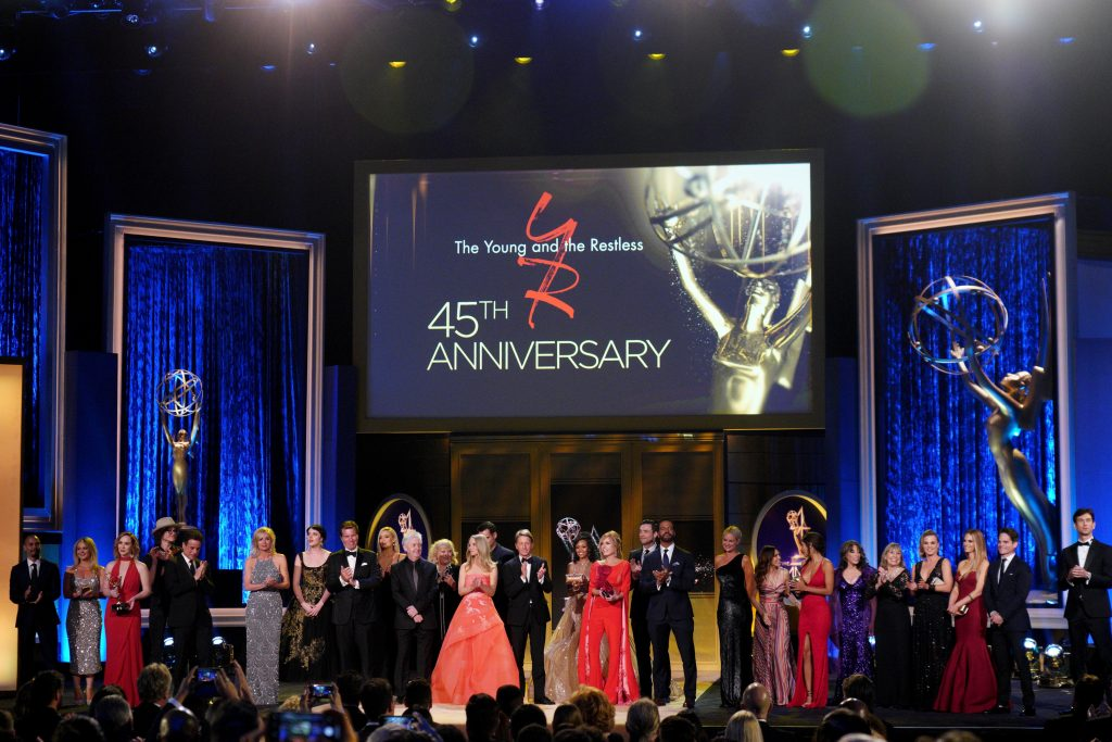 'The Young and the Restless' cast and crew celebrate the soap opera's 45th anniversary at the 2018 Daytime Emmy Awards.