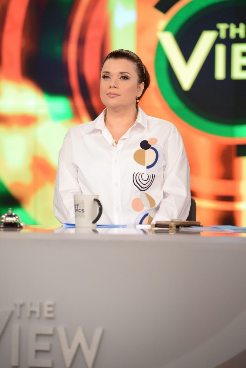 Ana Navarro looking serious on the set of 'The View'