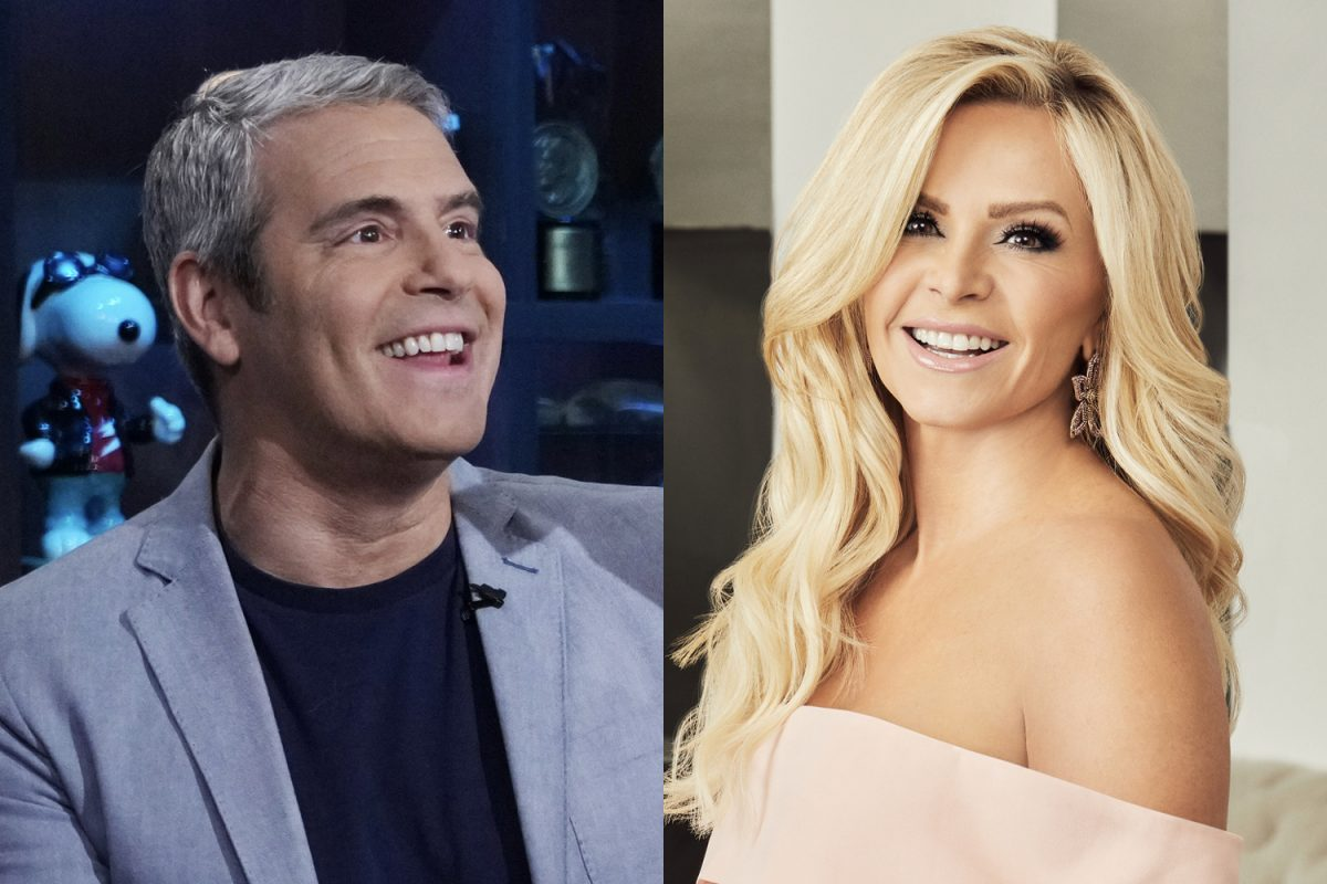 Andy Cohen smiling and wearing a gray jacket with a blue shirt. Tamra Judge smiles in a promotional photo for 'Real Housewives of Orange County.'