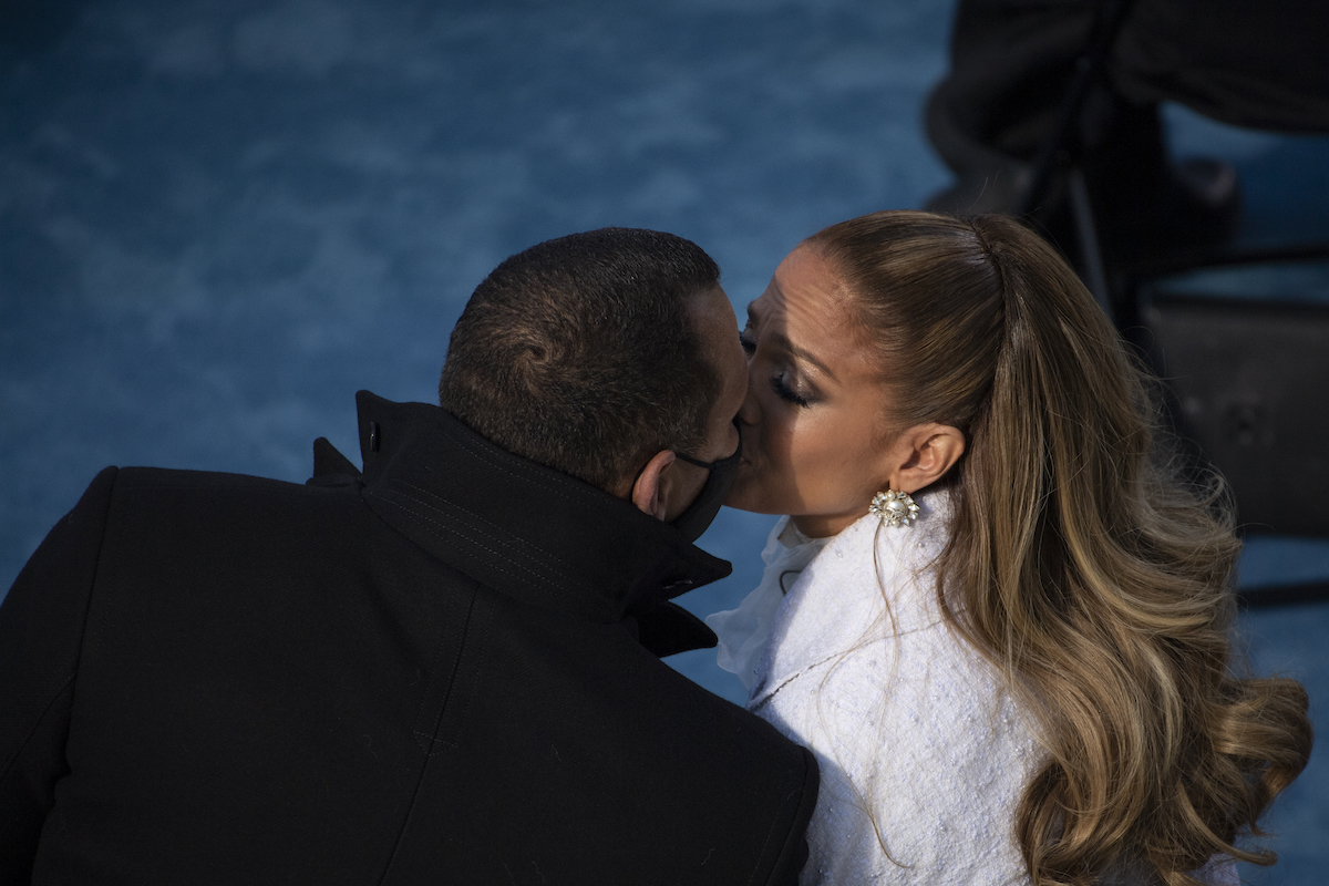Jennifer Lopez kisses fiancé Alex Rodriguez after performing during the inauguration of U.S. President-elect Joe Biden on the West Front of the U.S. Capitol on January 20, 2021 in Washington, DC. During today's inauguration ceremony Joe Biden becomes the 46th president of the United States.