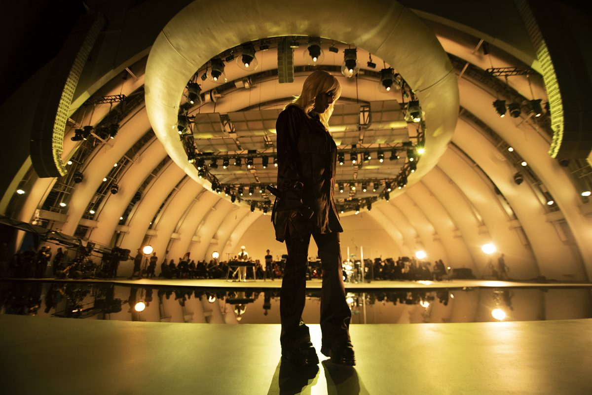 Billie Eilish stands on stage at The Hollywood Bowl in Los Angeles during her 'Happier Than Ever: A Love Letter to Los Angeles' Disney+ concert film