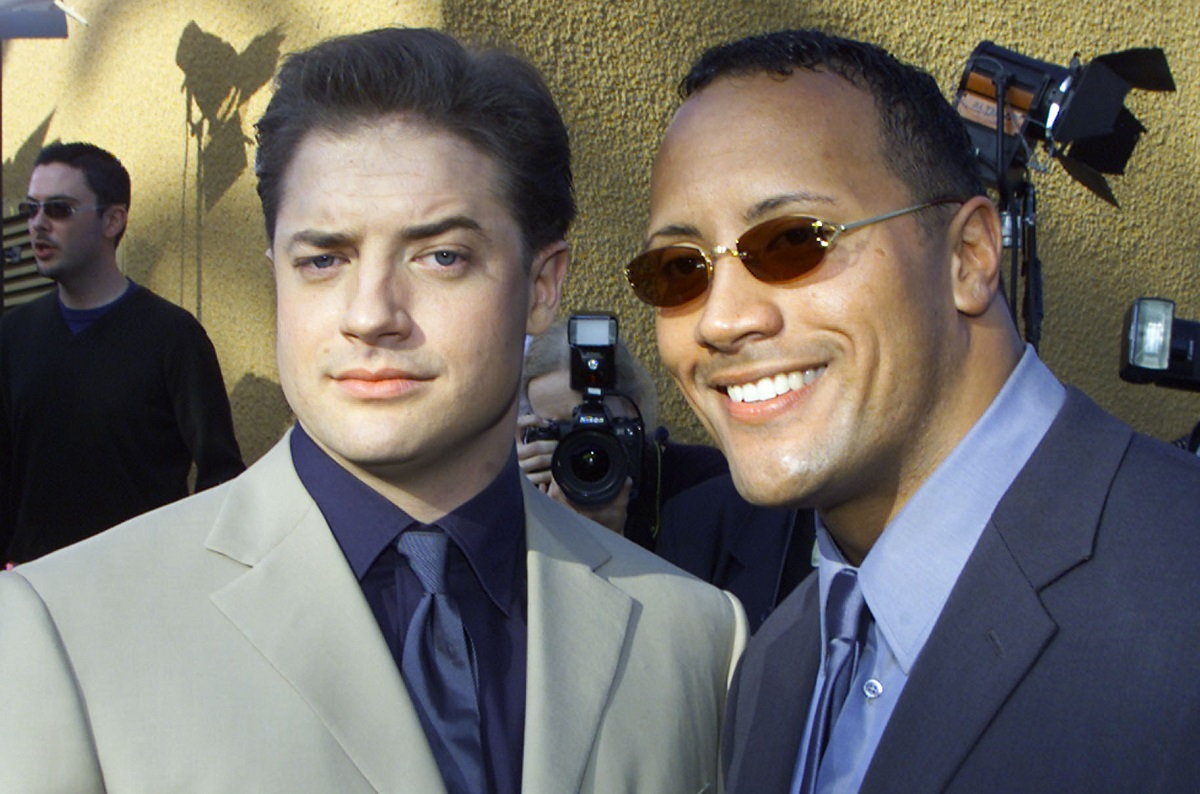 (L-R) Brendan Fraser and Dwayne Johnson at the premiere of 'The Mummy Returns' in 2001.