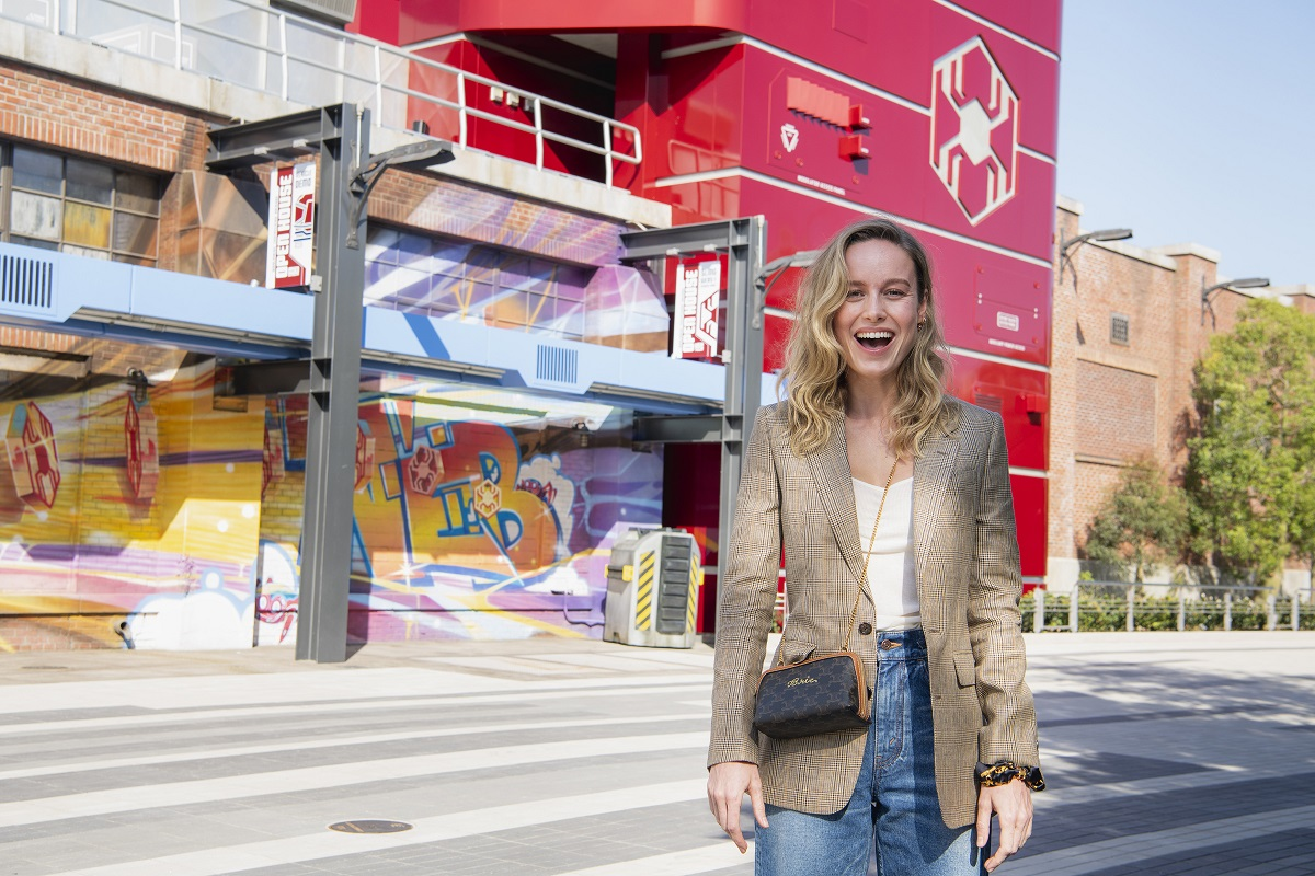 Brie Larson gets a sneak peek of the Avengers Campus at Disney California Adventure Park on May 19, 2021, in Anaheim, California.