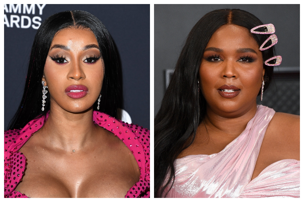 composite image of Cardi B and Lizzo (R)