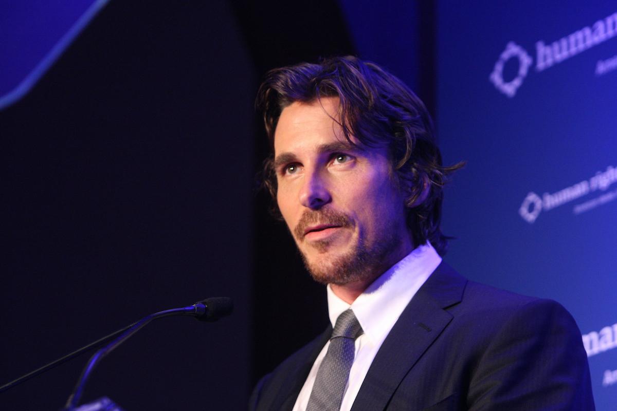 Christian Bale speaks at a podium   Bennett Raglin/WireImage