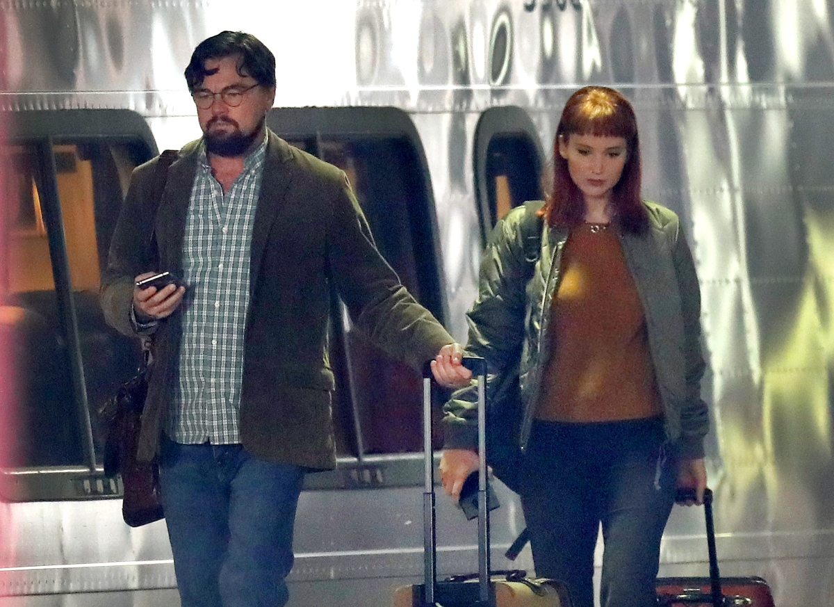 Leonardo DiCaprio and Jennifer Lawrence on set for 'Don't Look Up'