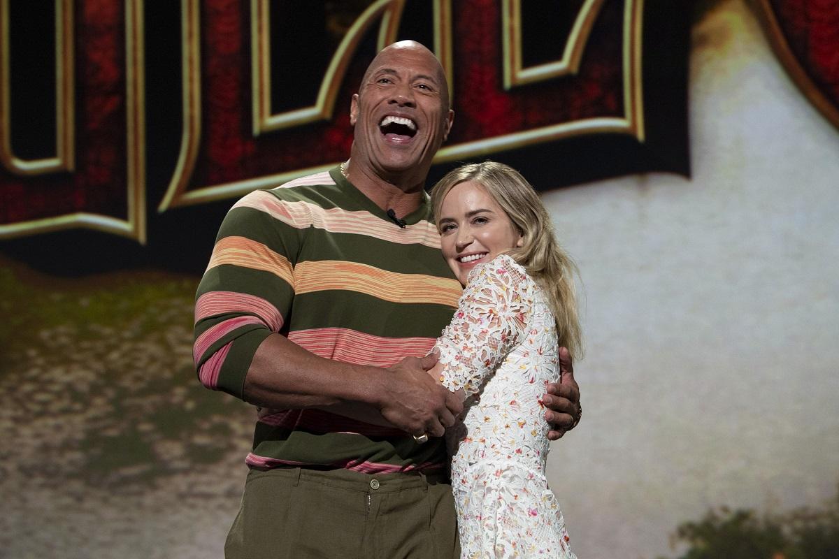 (LR).  Dwayne Johnson Onson և Emily Blunt anuncia su crucero por la jungla