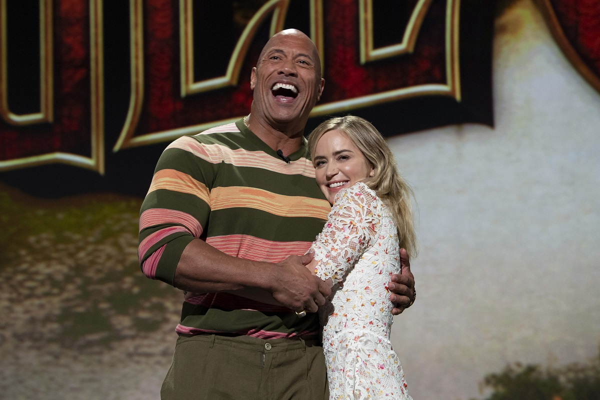 (L-R): Dwayne Johnson and Emily Blunt promote their movie 'Jungle Cruise'