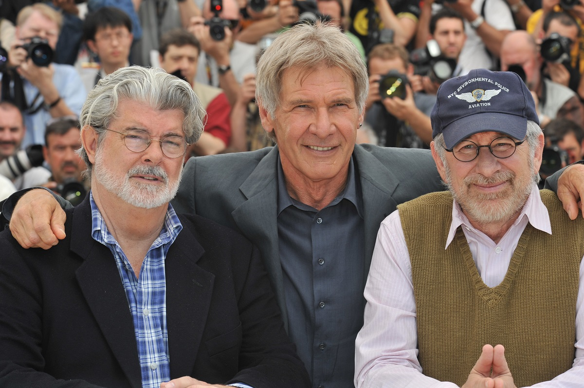 Harrison Ford (C), George Lucas (L) and Steven Spielberg at the photo call of 'Indiana Jones and the Kingdom of the Crystal Skull' during the 61st Cannes Film Festival.
