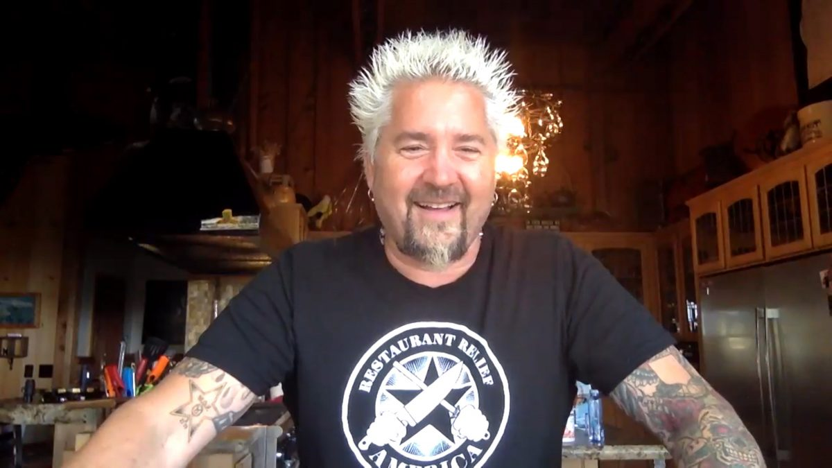 Guy Fieri looking happy as a virtual guest on 'The Tonight Show starring Jimmy Fallon'