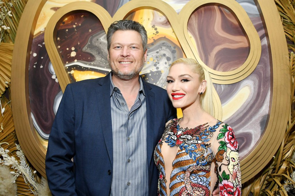 Blake Shelton and Gwen Stefani attend the Warner Music Group Pre-Grammy Party.
