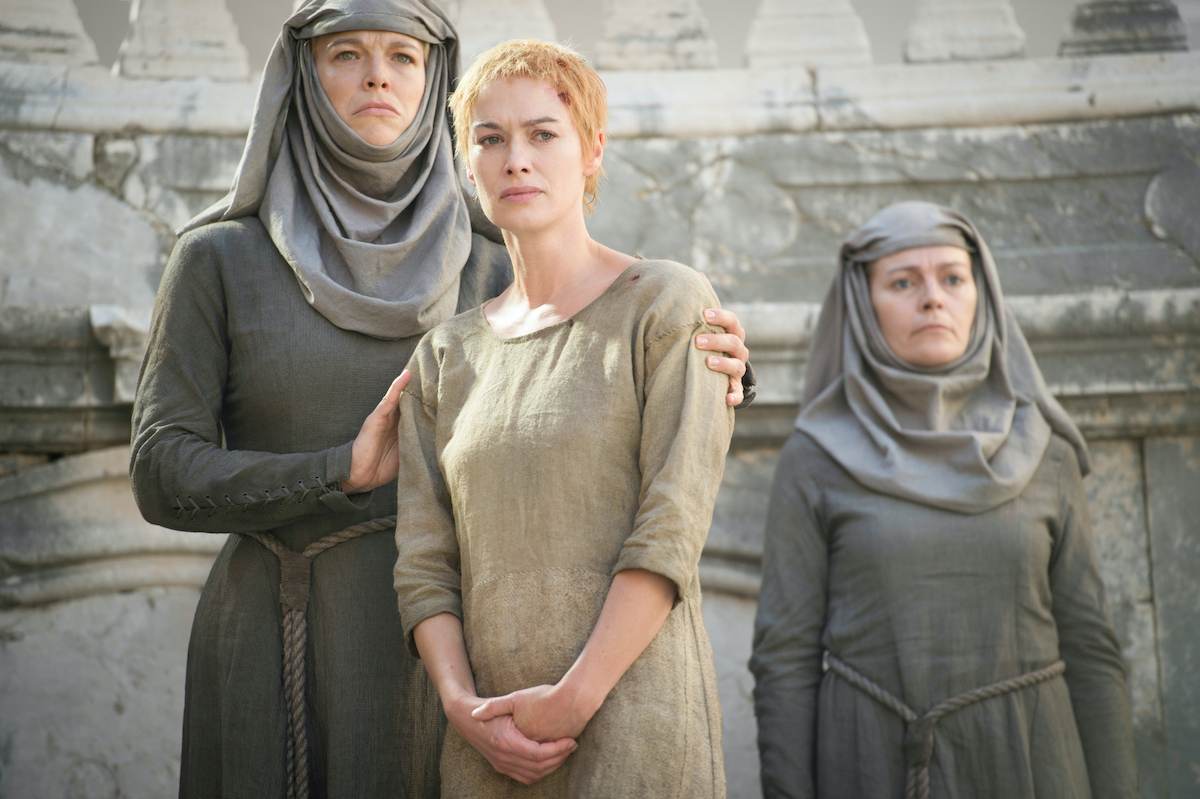 Hannah Waddingham as Septa Unella and Lena Headey as Cersei Lannister on the set of 'Game of Thrones'