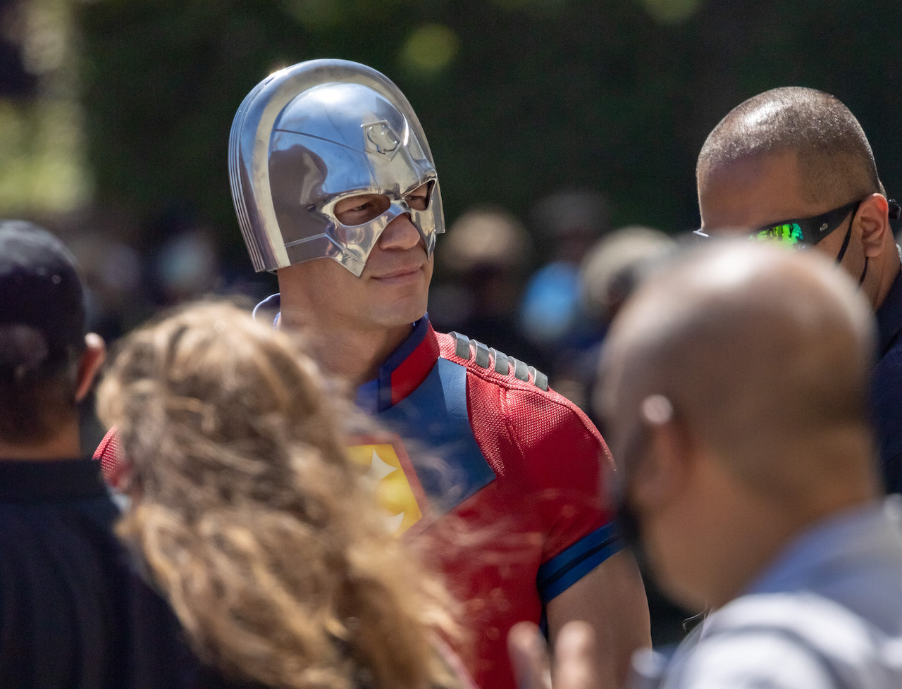 """John Cena, dressed as Peacemaker from """"The Suicide Squad"""", is seen at """"Jimmy Kimmel Live"""""""