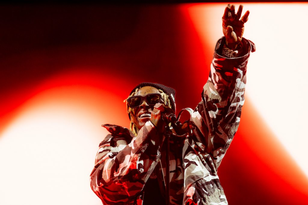 Lil Wayne performs onstage at the UPROAR Hip Hop Festival at Los Angeles Memorial Coliseum on August 13, 2021 in Los Angeles, California.