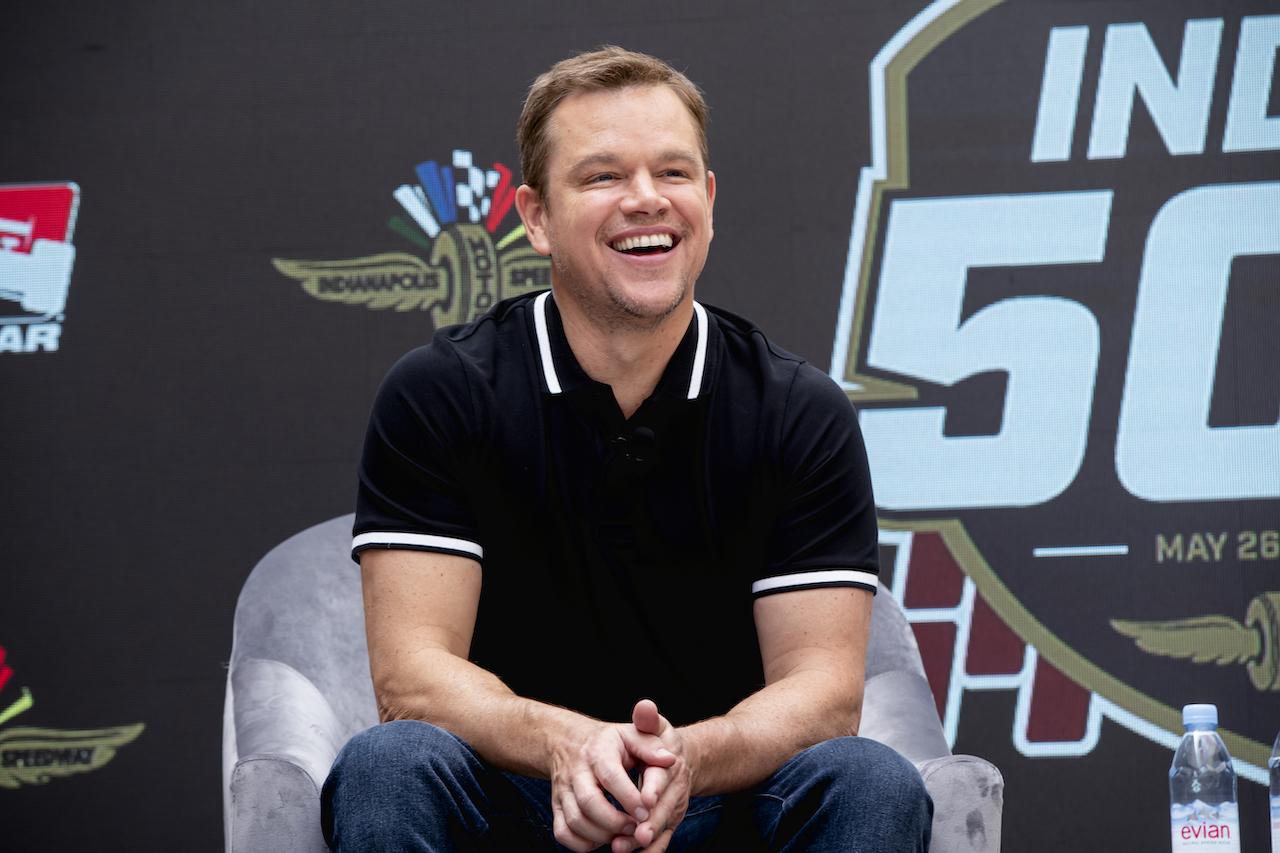 Matt Damon appears at the Indianapolis Motor Speedway