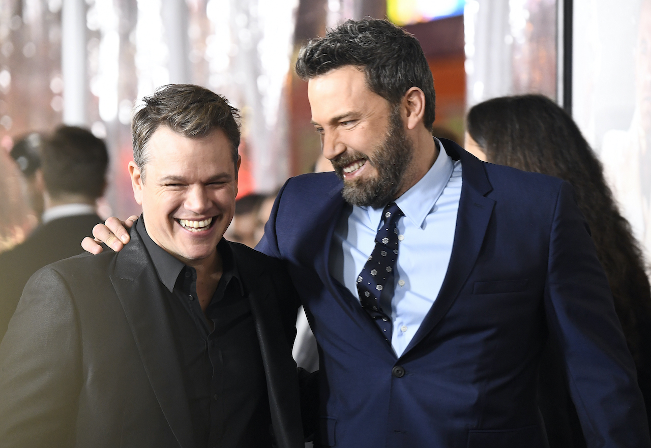 """Matt Damon and Ben Affleck attend the premiere of Warner Bros. Pictures' """"Live By Night"""" at TCL Chinese Theatre"""