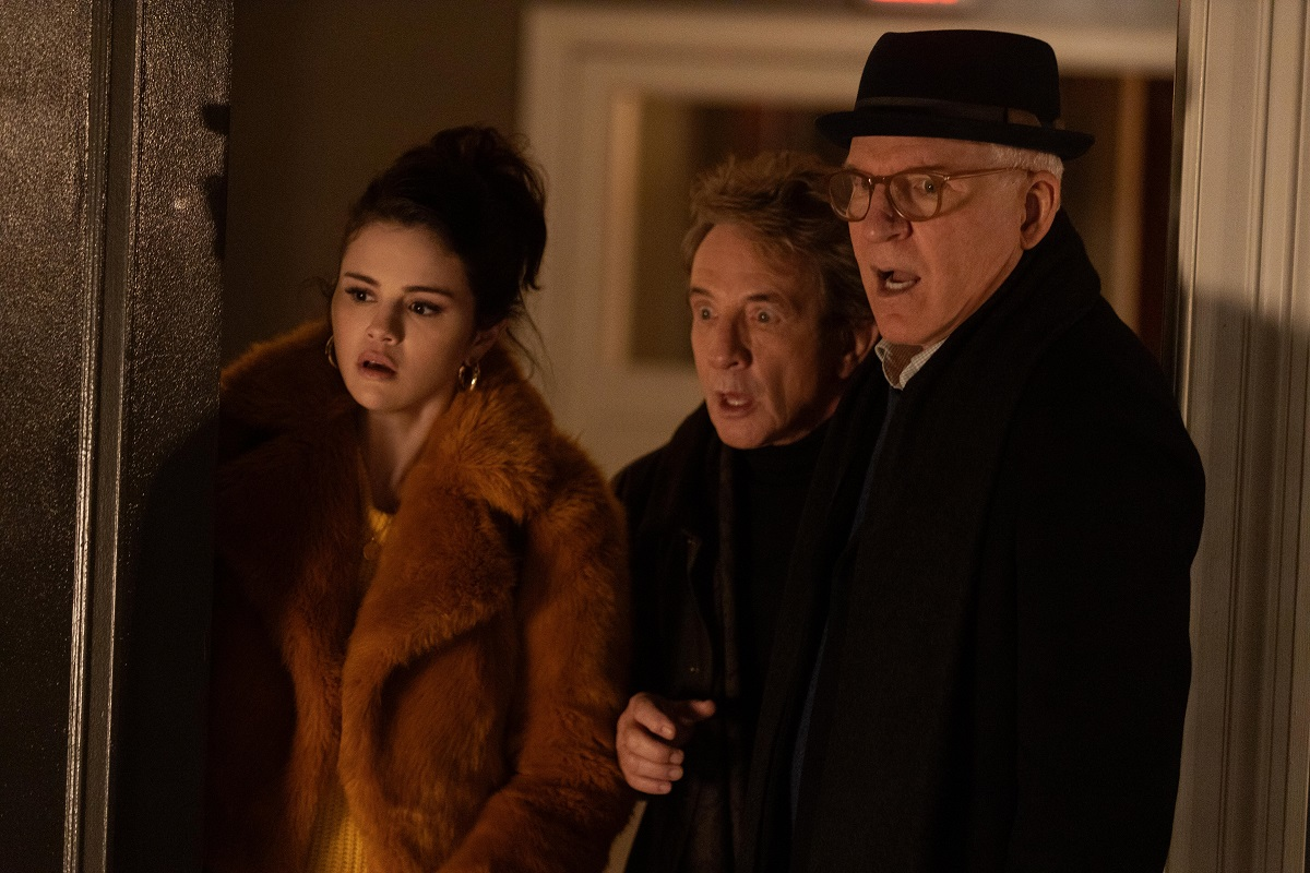 Mabel (Selena Gomez), Oliver (Martin Short) and Charles (Steve Martin) in 'Only Murders in the Building' Season 1