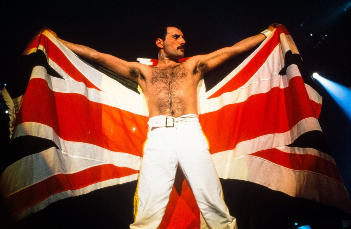 Queen's Freddie Mercury with a flag of the United Kingdom