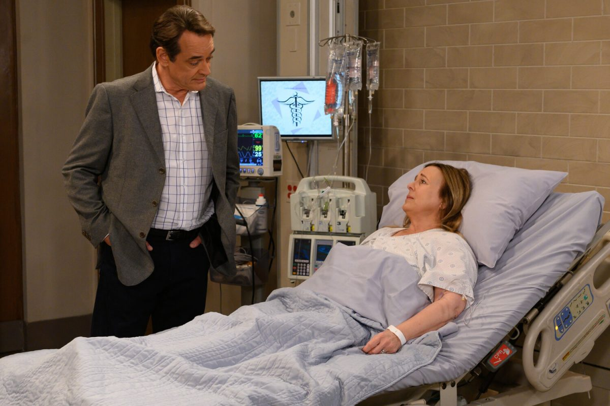 Jon Lindstrom and Genie Francis in a hospital scene for 'General Hospital'