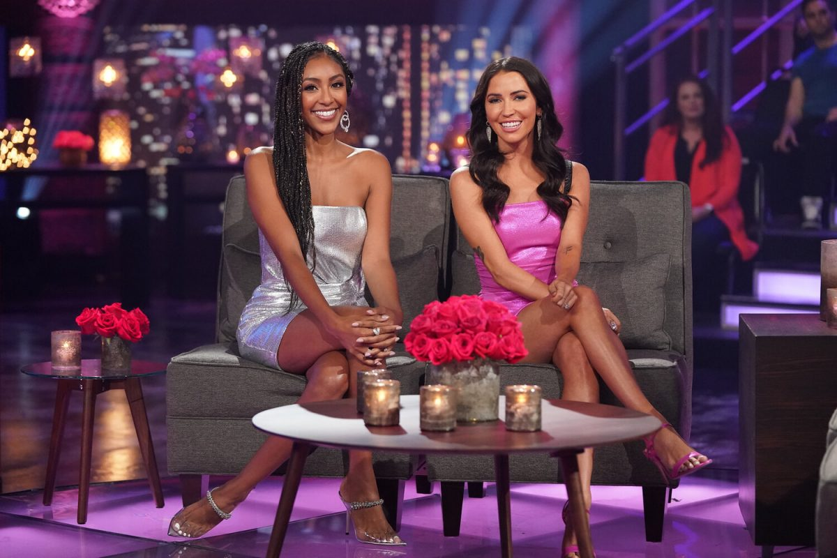 Tayshia Adams and Kaitlyn Bristowe at 'The Bachelorette' finale.