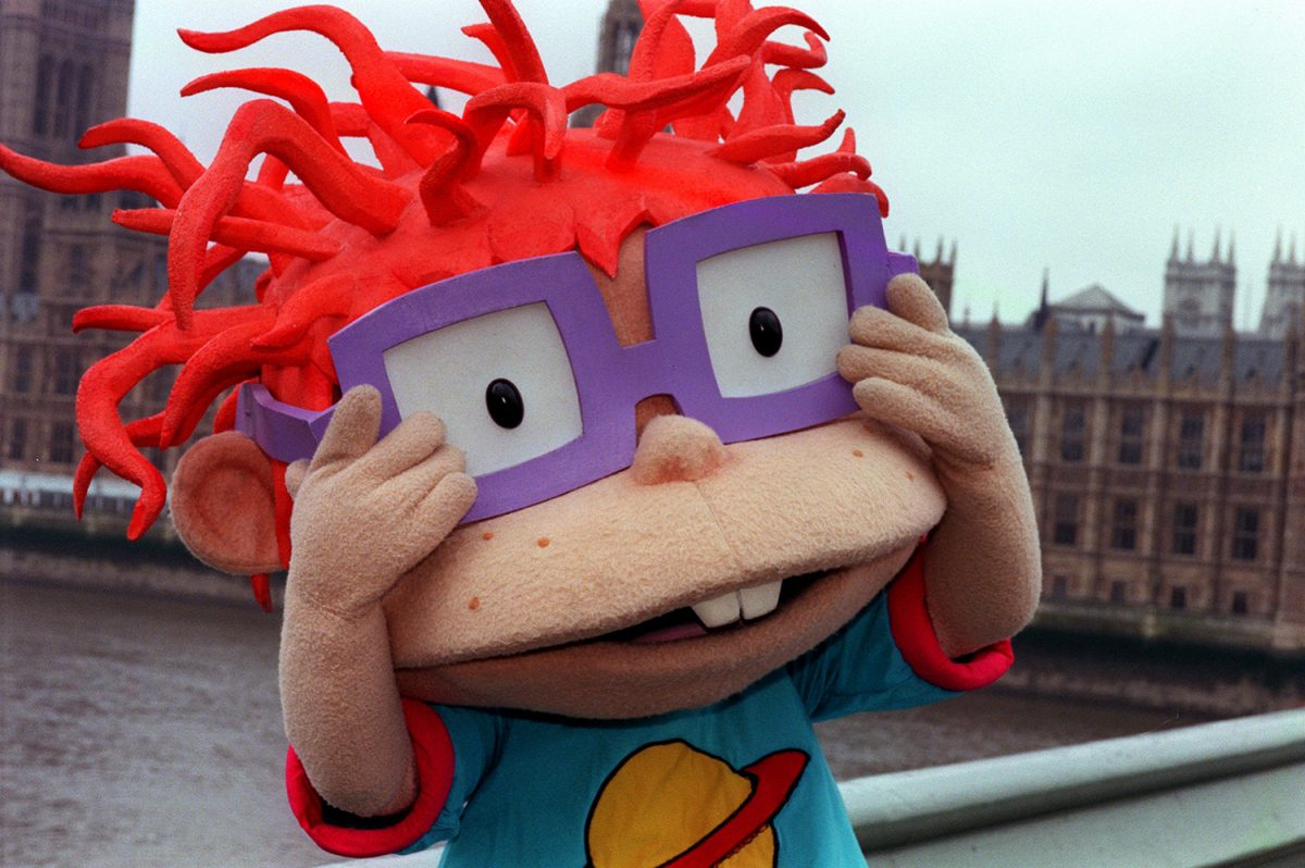 Rugrats character Chuckie at Westminster Bridge in London