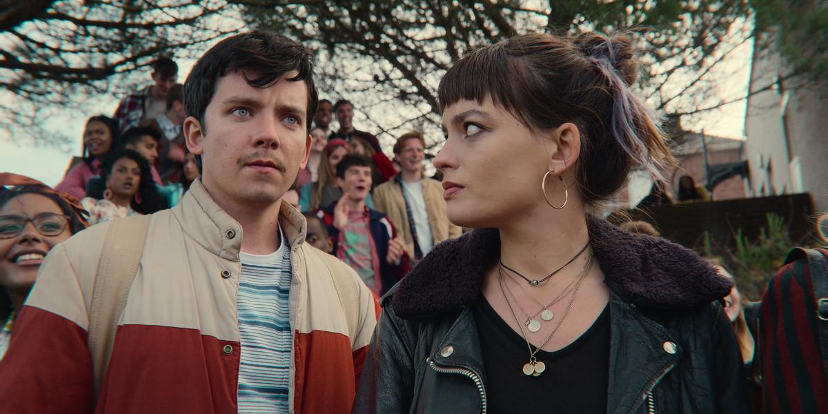Asa Butterfield (Otis) and Emma Mackey (Maeve) in 'Sex Education' Season 3
