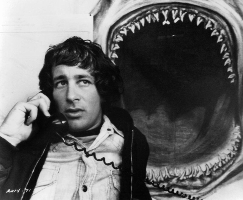 Steven Spielberg on set of the film 'Jaws', 1975