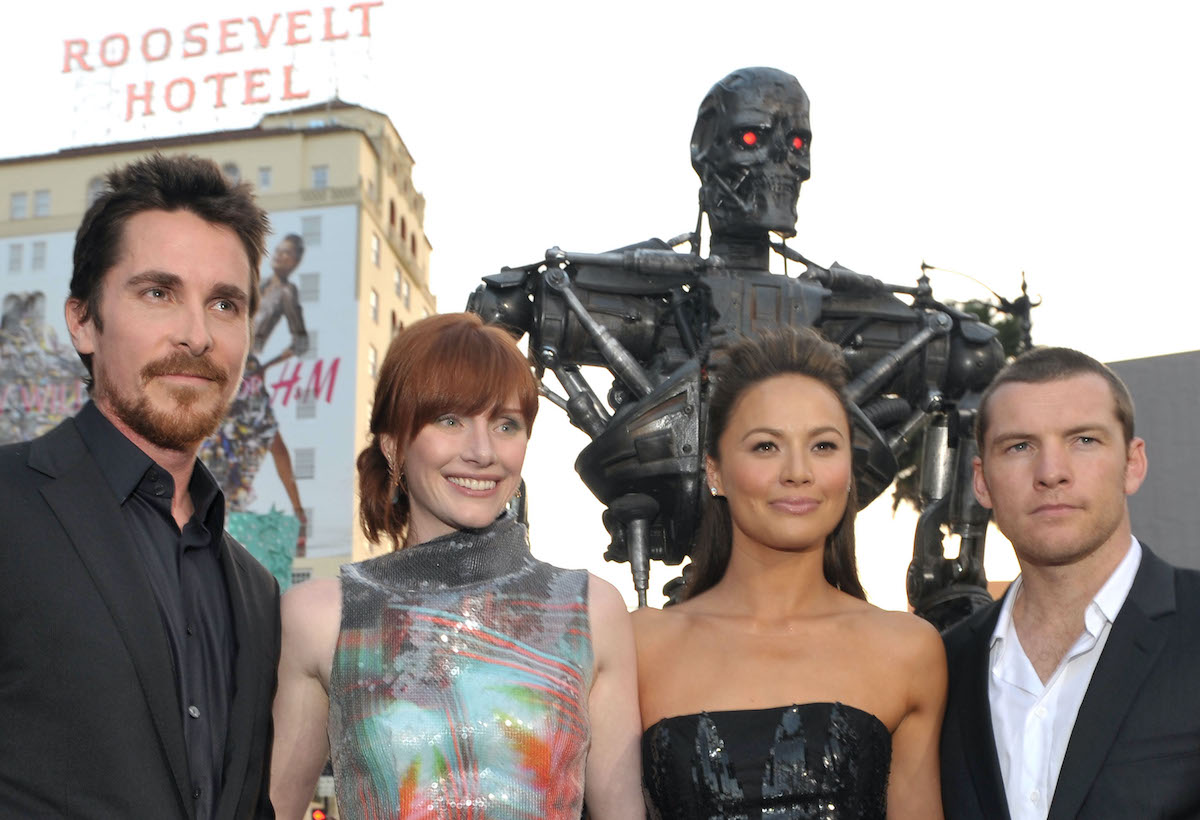 Christian Bale, Bryce Dallas Howard, Moon Bloodgood, and Sam Worthington are dressed up and posing at the 'Terminator Salvation' premiere