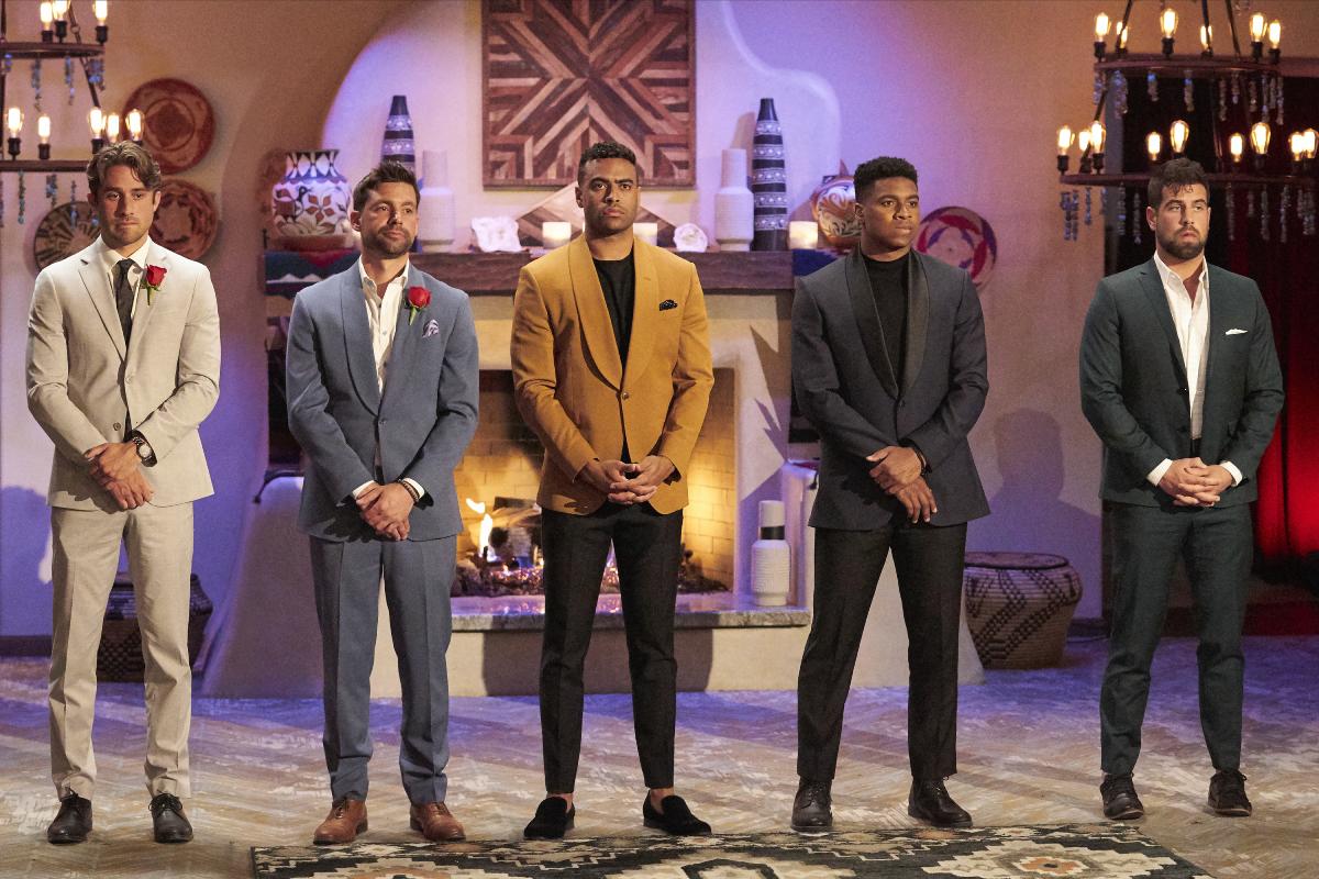 Greg Grippo, Michael Allio, Justin Glaze, Andrew Spencer and Blake Moynes await the rose ceremony in Katie Thurston's season of 'The Bachelorette'