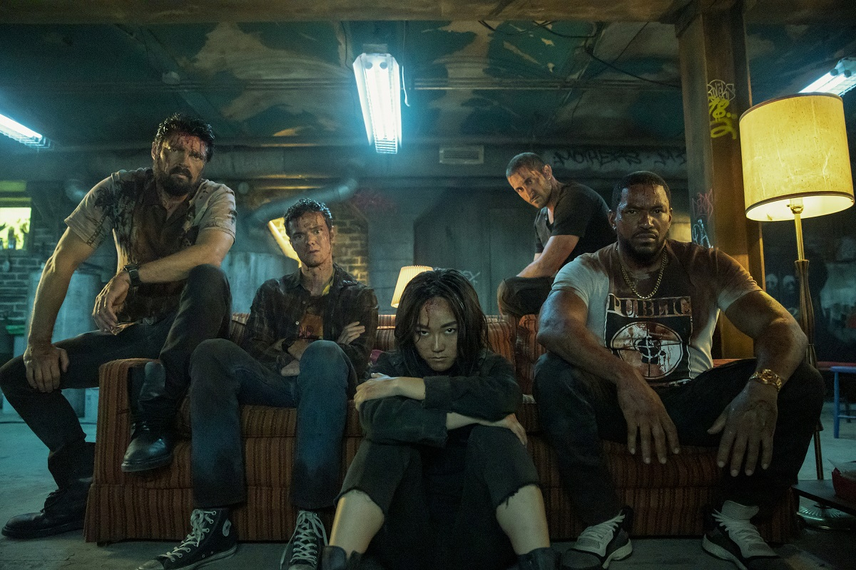 (L-R): Karl Urban (Billy Butcher), Jack Quaid (Hughie Campbell), Karen Fukuhara (Kimiko), Tomer Capon (Frenchie), Laz Alonso (Mother's Milk) in 'The Boys' Season 2