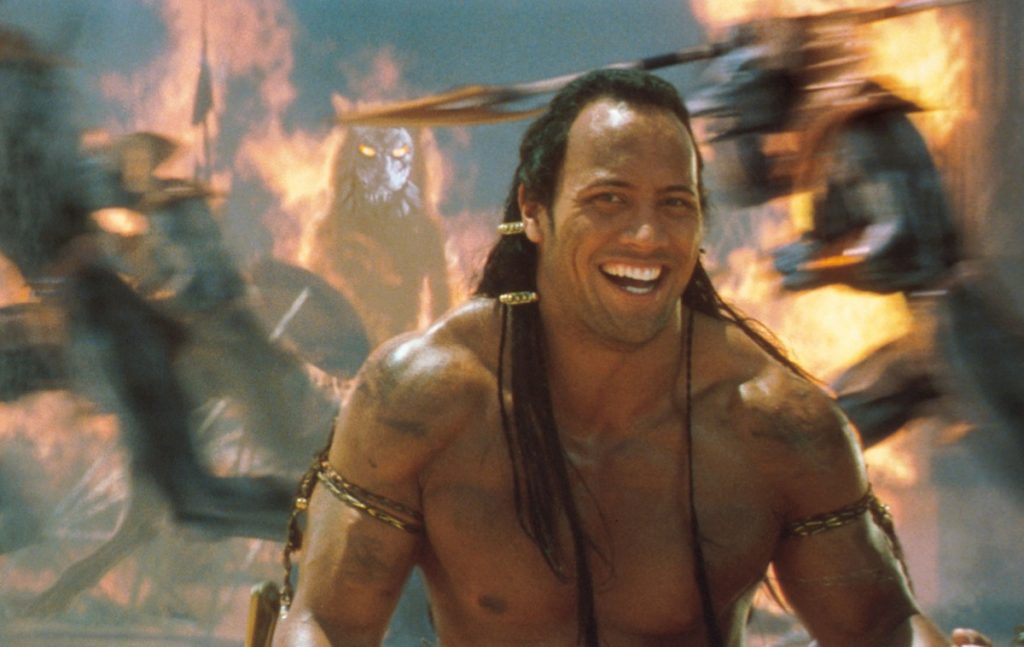 The Scorpion King (played by Dwayne 'The Rock' Johnson) relishes battle in 'The Mummy Returns.'