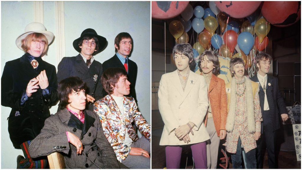 The Rolling Stones and The Beatles in a composite photo.