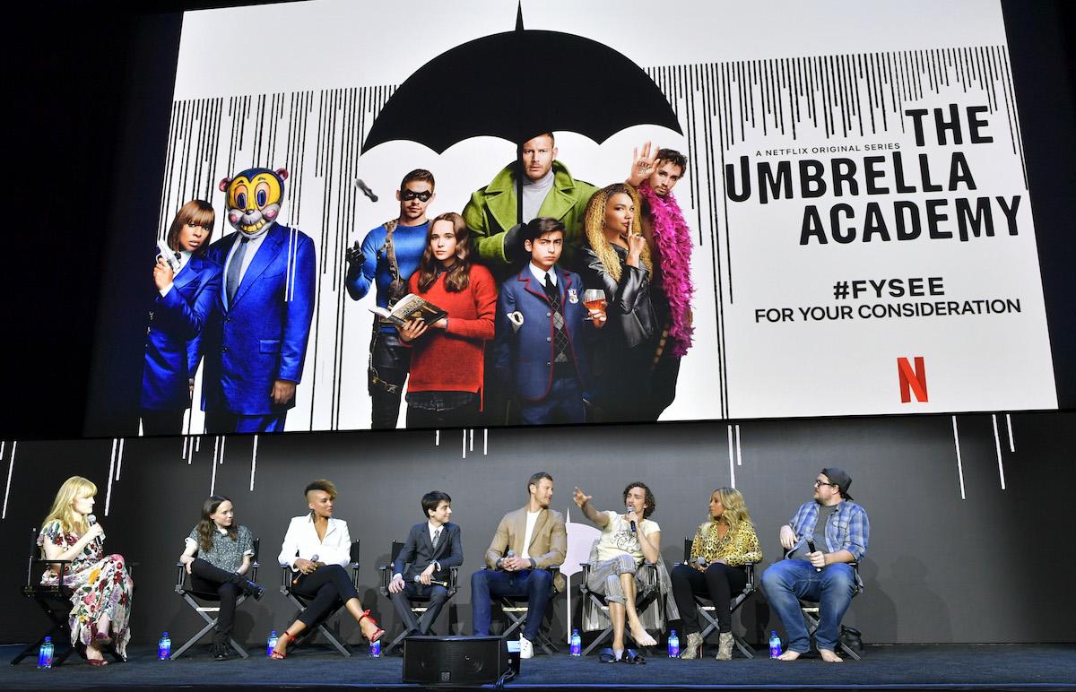 Laura Prudom, Elliot Page, Emmy Raver-Lampman, Aidan Gallagher, Tom Hopper, Robert Sheehan, Mary J. Blige and Cameron Britton speak onstage at Netflix's 'Umbrella Academy' Screening