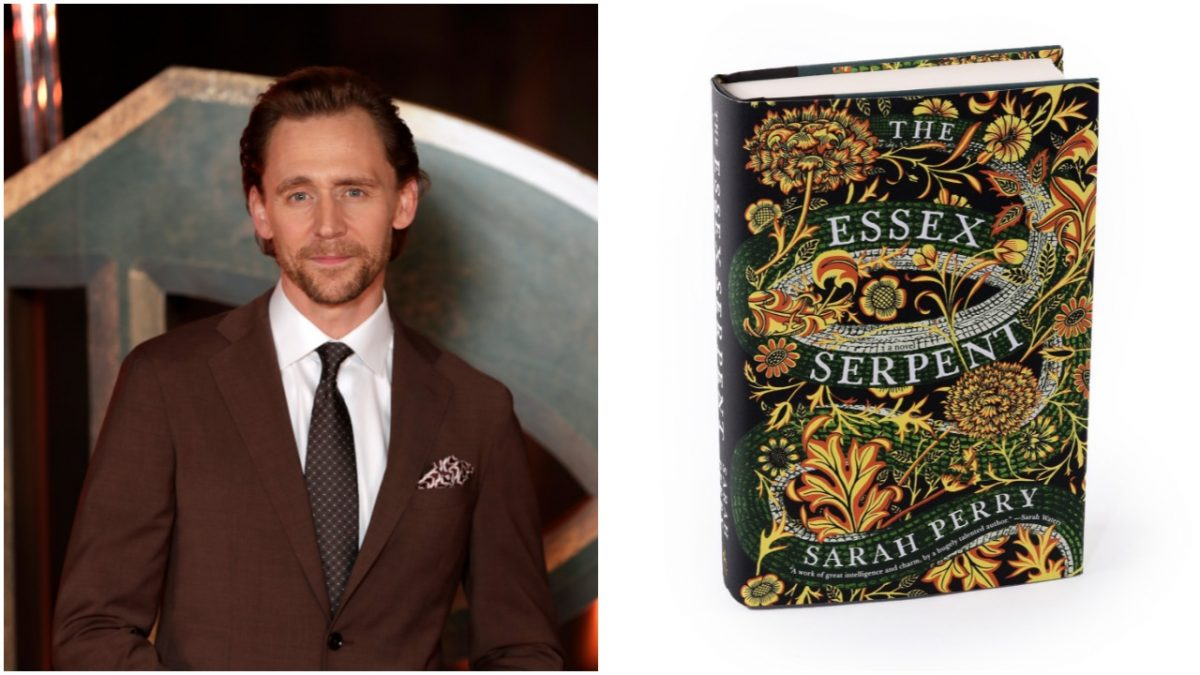 photo of Tom Hiddleston in a brown suit next to image of 'The Essex Serpent' book