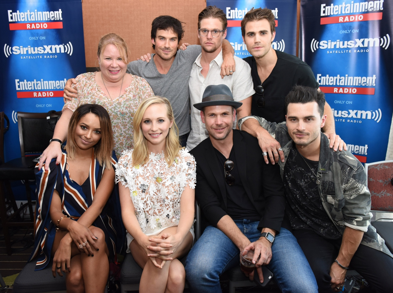'The Vampire Diaries' cast with showrunner/writer Julie Plec at SiriusXM Comic-Con broadcast, 2016