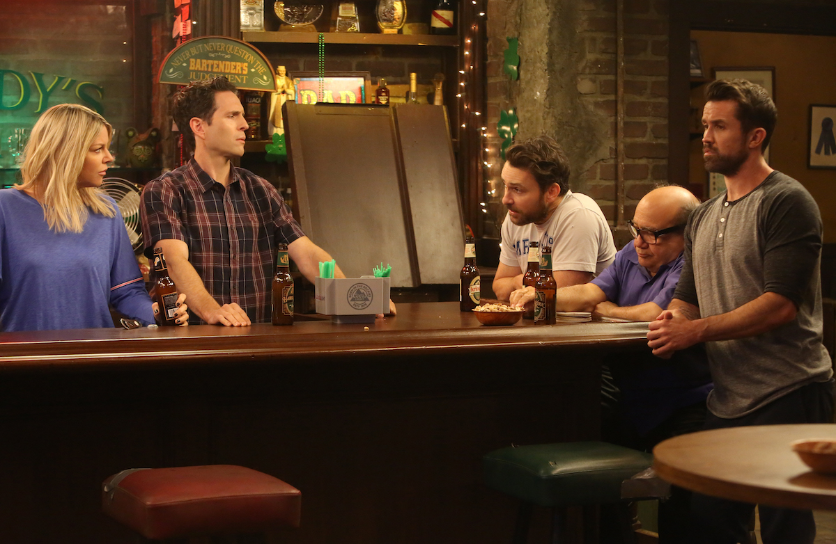 Pictured: (l-r) Kaitlin Olson as Dee, Glenn Howerton as Dennis, Charlie Day as Charlie, Danny DeVito as Frank, Rob McElhenney as Mac from 'It's Always Sunny in Philadelphia'.