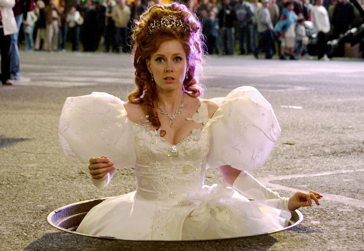 Amy Adams emerges from Times Square in the Patrick Dempsey Disney movie Enchanted