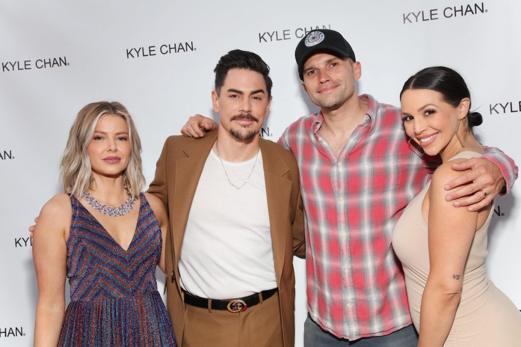 Ariana Madix, Tom Sandoval, Tom Schwartz, and Scheana Shay pose together at an event.