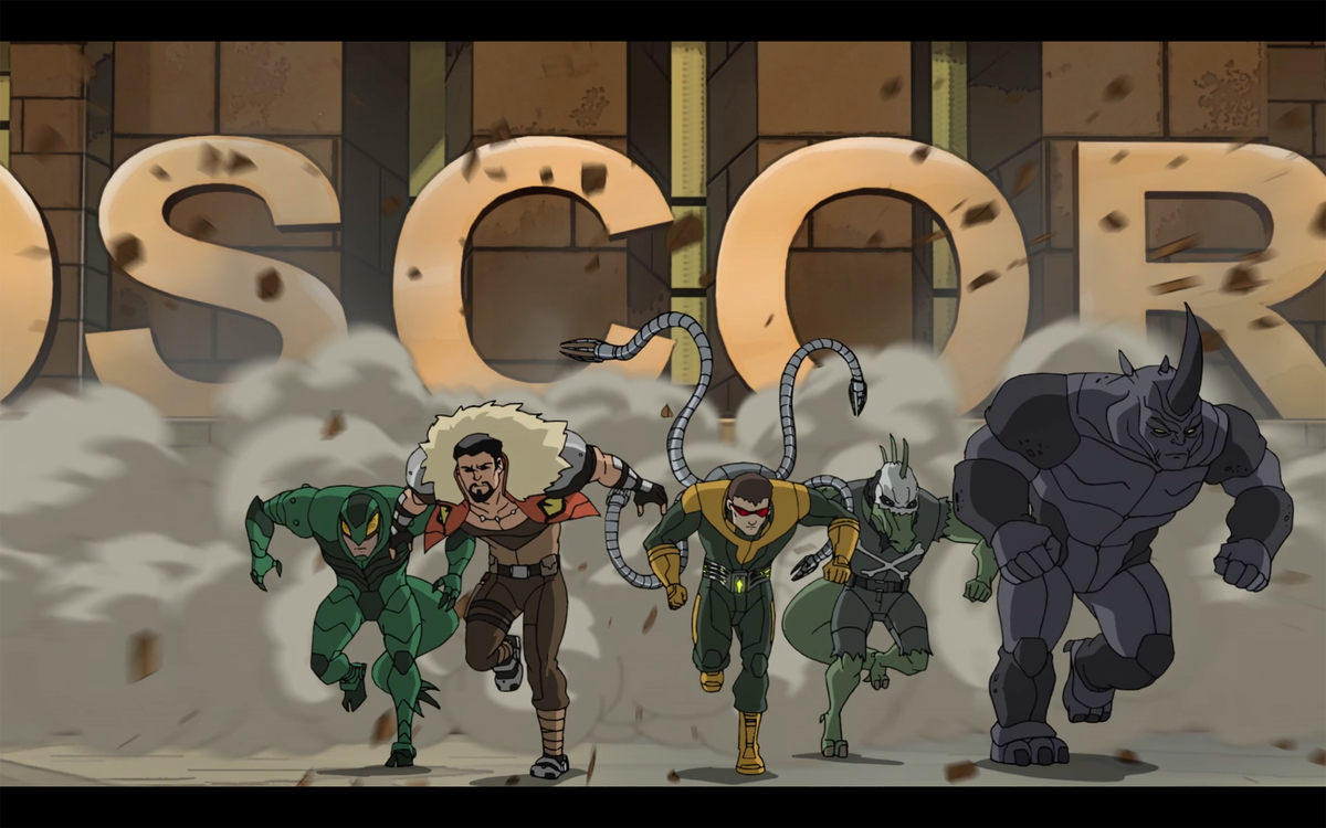 """Spider-Man villains, the Sinister Six from """"Marvel's Ultimate Spider-Man."""" Equinox takes his name from the Autumn Equinox"""