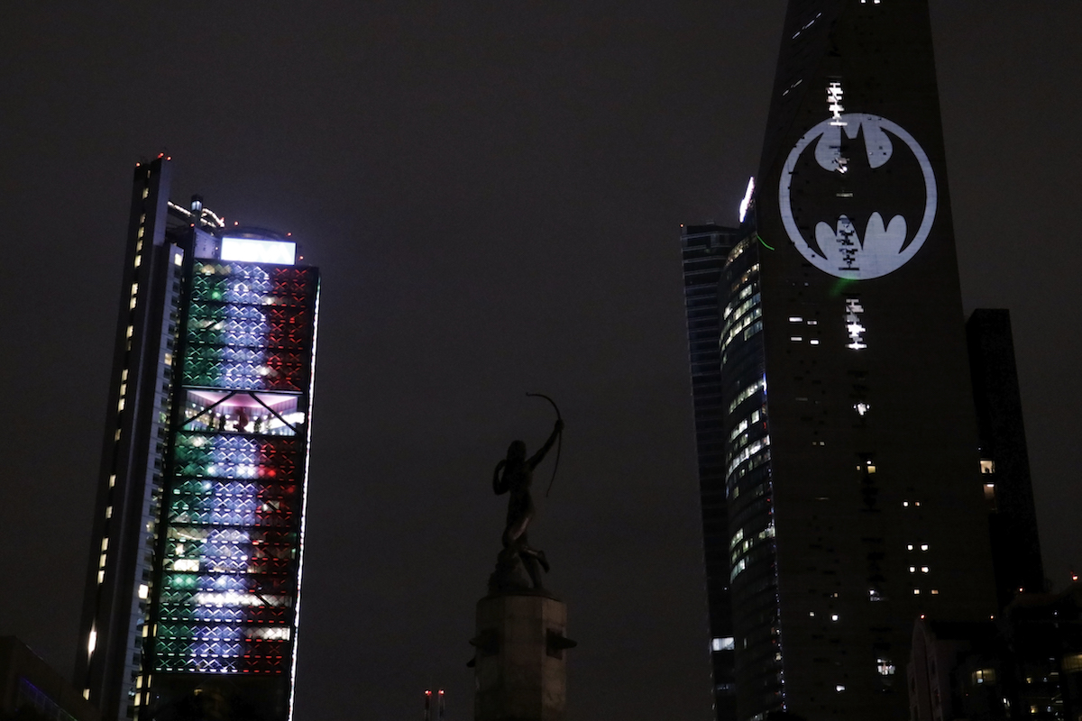The Bat Signal projected on a building in Mexico City, Mexico. Batman is a key character in the upcoming 'Injustice' movie.