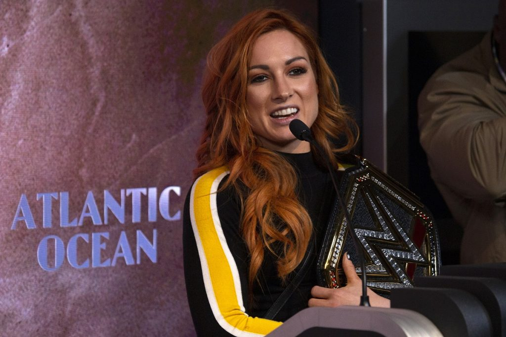 WWE star Becky Lynch at a 2019 WrestleMania 35 appearance at the Empire State Building in New York.