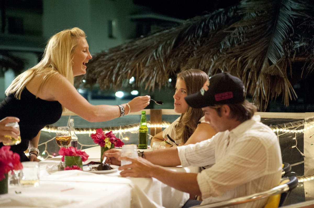 Kat Held, Samantha Orme, and David Bradberry from 'Below Deck' have dinner in between charters.